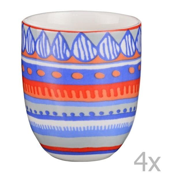 Komplet 4 porcelanowych filiżanek na espresso Oilily 80 ml, niebieski