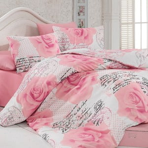 Komplet pościeli z prześcieradłem Pink Roses, 200x220 cm