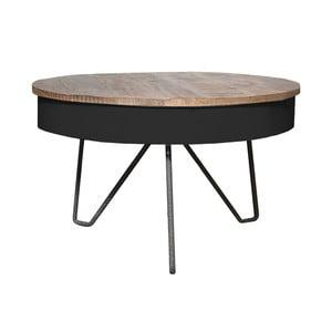 Czarny stolik z blatem z drewna mangowca LABEL51 Saria