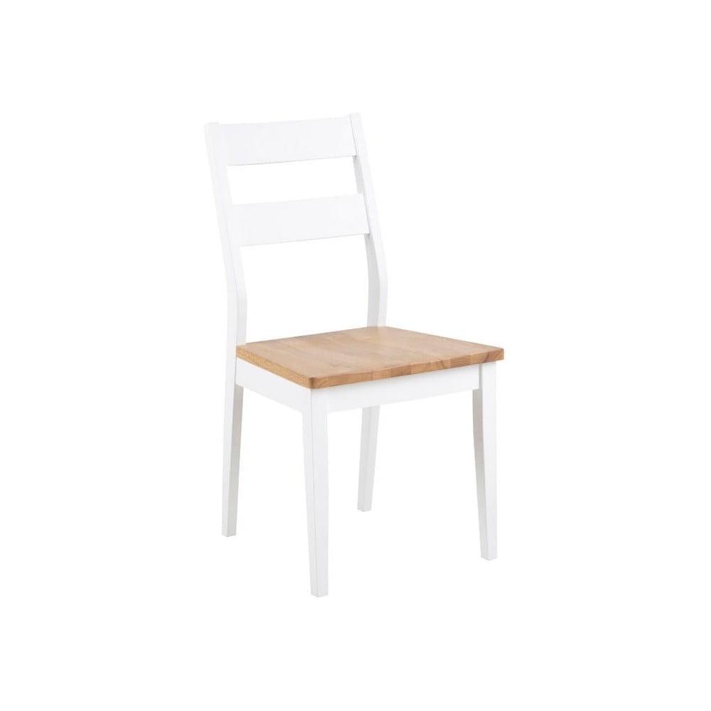 Brązowo-białe krzesło do jadalni z drewna dębowego i kauczukowca Actona Derri