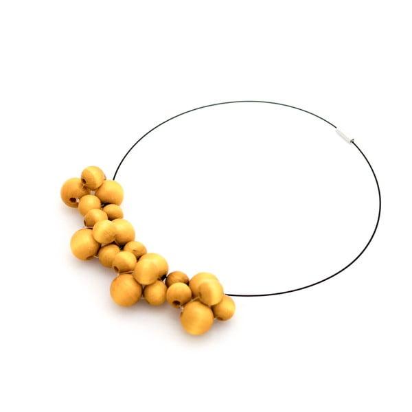 Żółty naszyjnik z drewnianymi koralami Ko–ra–le Bubbles
