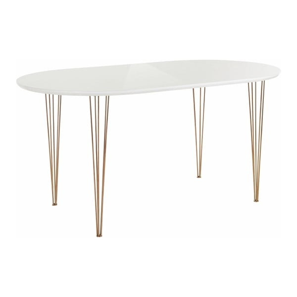 Biały stół z wysokim połyskiem Støraa Ermelo, dł. 160 cm