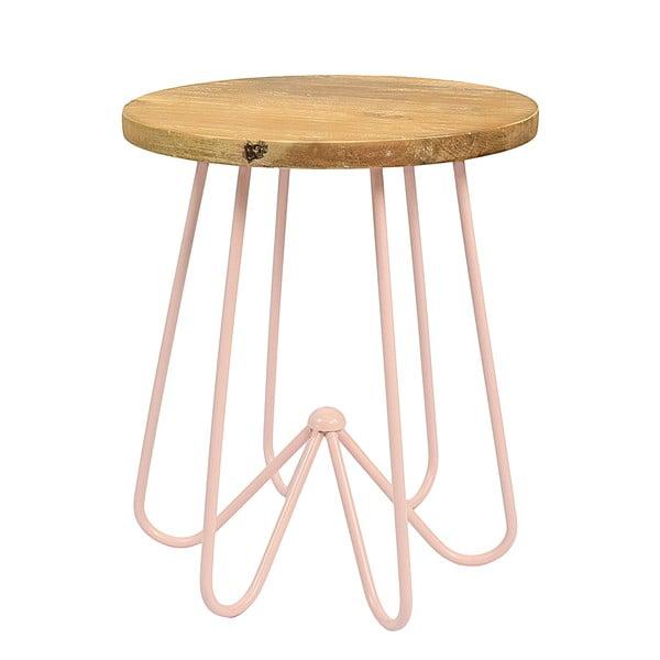 Jasnoróżowy stolik z drewnianym blatem HF Living Round