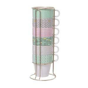 Zestaw 6 kubków na stojaku Present Time Cappuccino Aztec