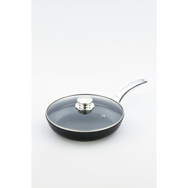 Patelnia z pokrywką i rączką w kolorze srebra Bisetti Black Diamond, Ø 24 cm