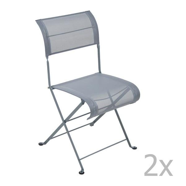 Zestaw 2 ciemnoszarych krzeseł składanych Fermob Dune