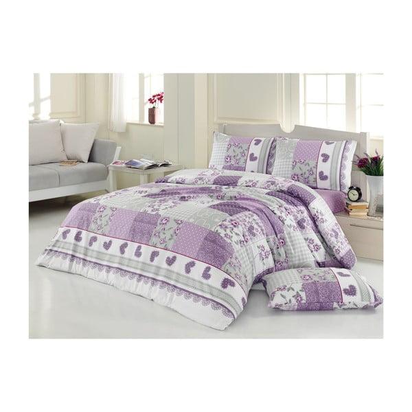 Komplet pościeli z prześcieradłem Purple and Grey, 200x220 cm