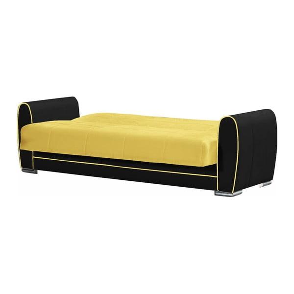 Żółto-czarna trzyosobowa sofa rozkładana ze schowkiem Esidra Rest