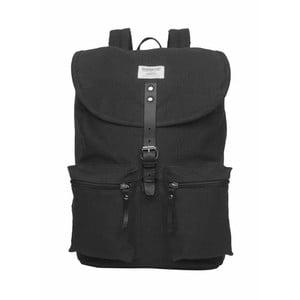 Czarny plecak ze skórzanymi detalami Sandqvist Roald