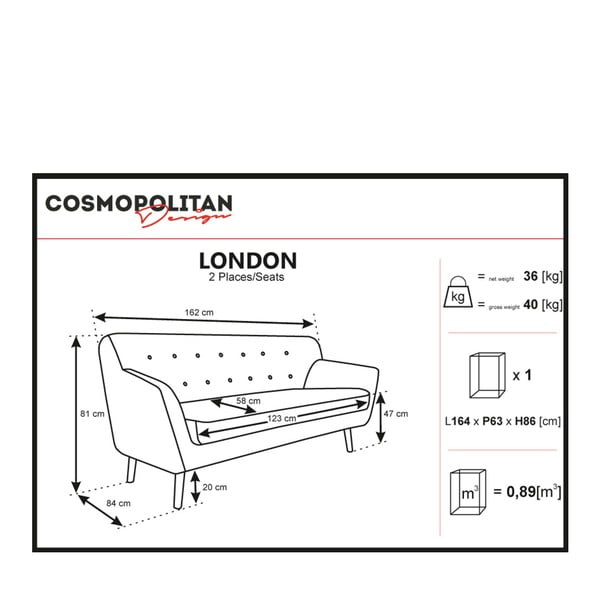 Beżowa sofa 2-osobowa Cosmopolitan design London