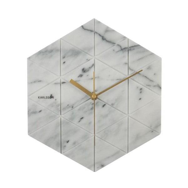 Biały zegar Karlsson Marble Hexagon