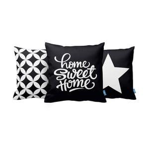 Zestaw 3 poduszek Home Sweet Home, 43x43 cm, černá
