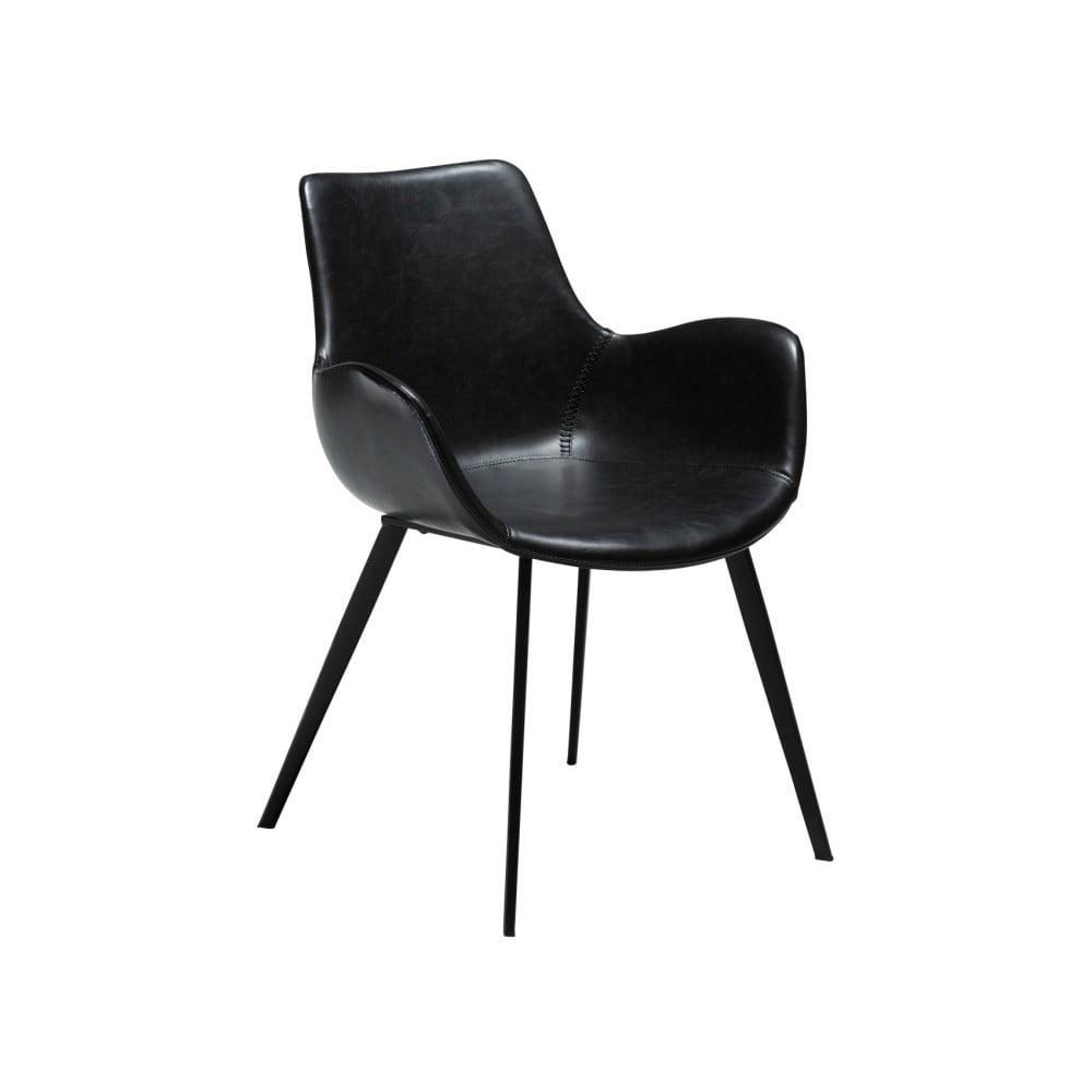 Czarne krzesło ze skóry ekologicznej z podłokietnikami DAN-FORM Denmark Hype