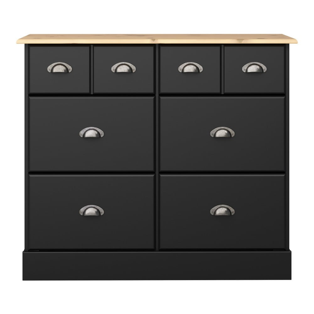 Czarna komoda z 6 szufladami Steens Nola, 78,5x91,4 cm