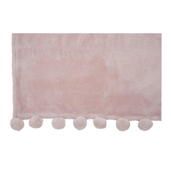 Różowy pled J-Line Pom-Pom