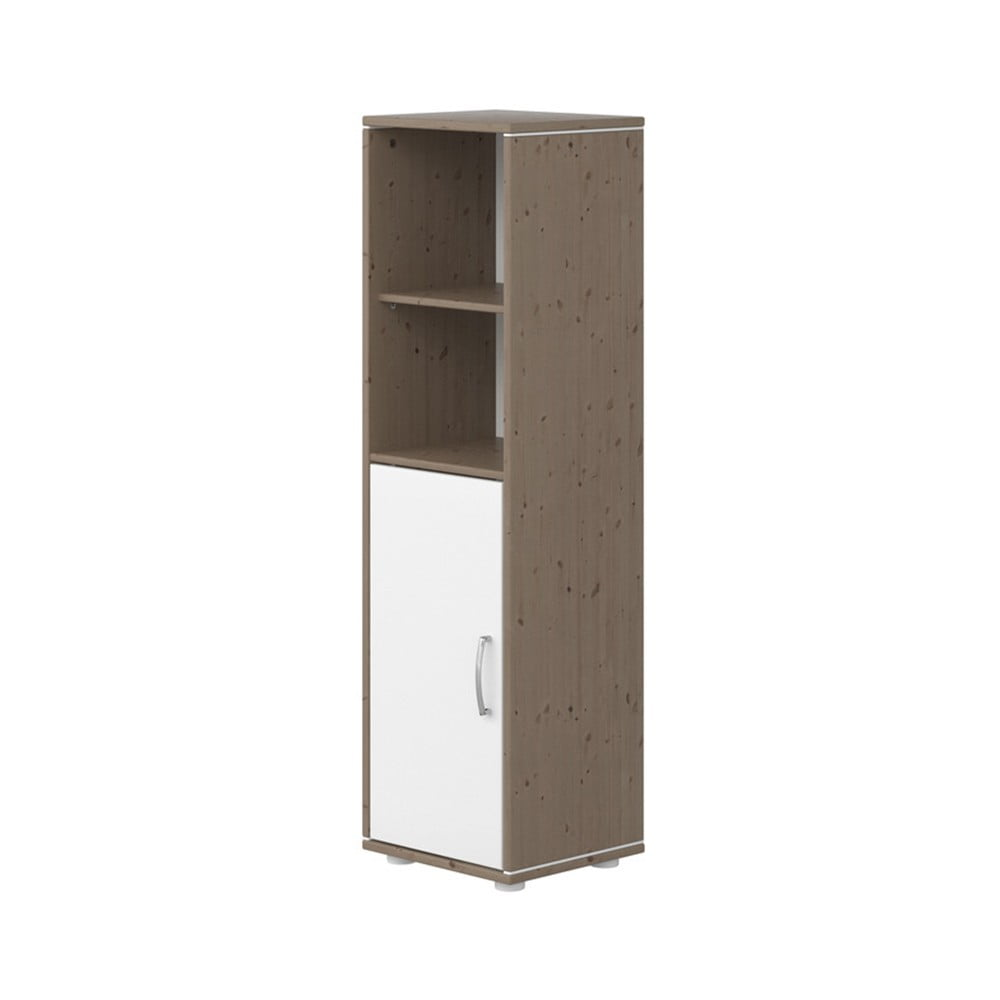 Brązowo-biała szafka dziecięca z drewna sosnowego Flexa Classic, wys. 133 cm