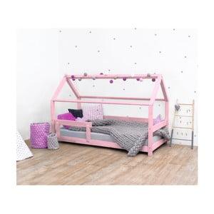 Różowe łóżko dziecięce z drewna świerkowego z barierkami Benlemi Tery, 120x160 cm