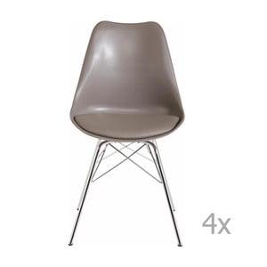 Zestaw 4 szarobeżowych krzeseł Støraa Jenny