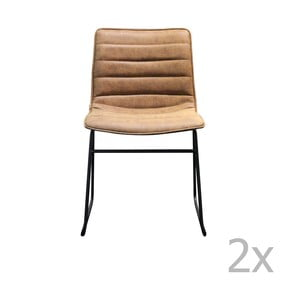 Brązowe krzesło z czarną metalową konstrukcją Red Cartel Hampton