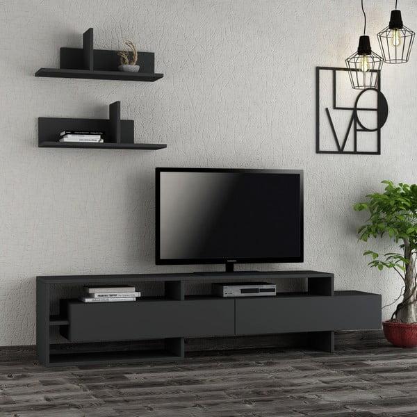 Komplet antracytowej szafki pod TV i 2 półek Homitis Gara