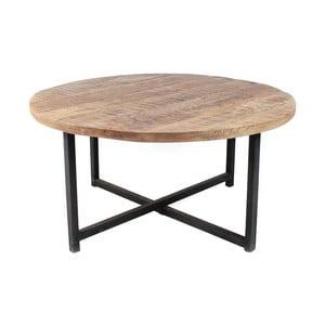 Czarny stolik z blatem z drewna mangowca LABEL51 Dex, Ø 80 cm