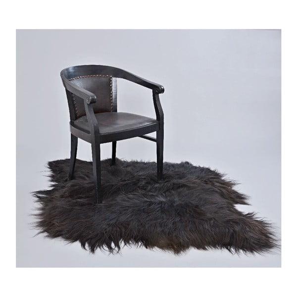 Ciemny dywan futrzany z długim włosiem, 100x90 cm