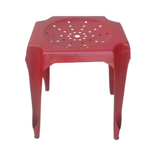 Metalowy stołek retro Gion, czerwony
