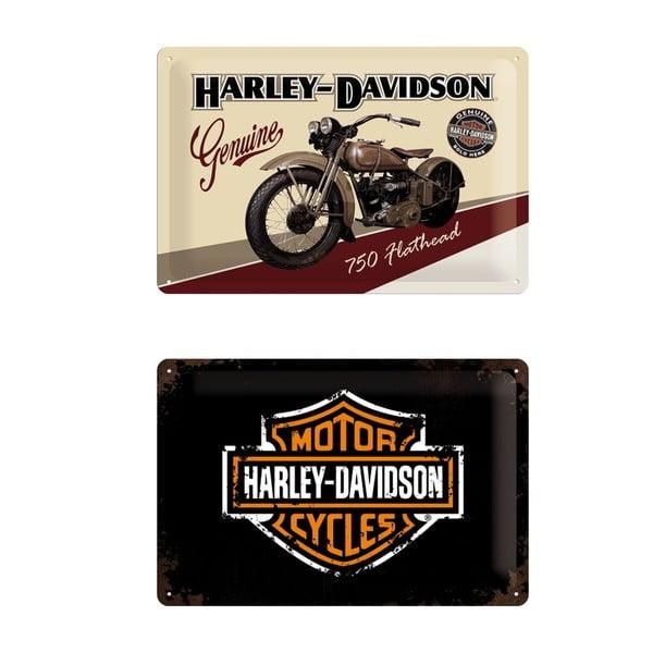 Zestaw 2 blaszanych tablic Retro Harley, 20x30 cm