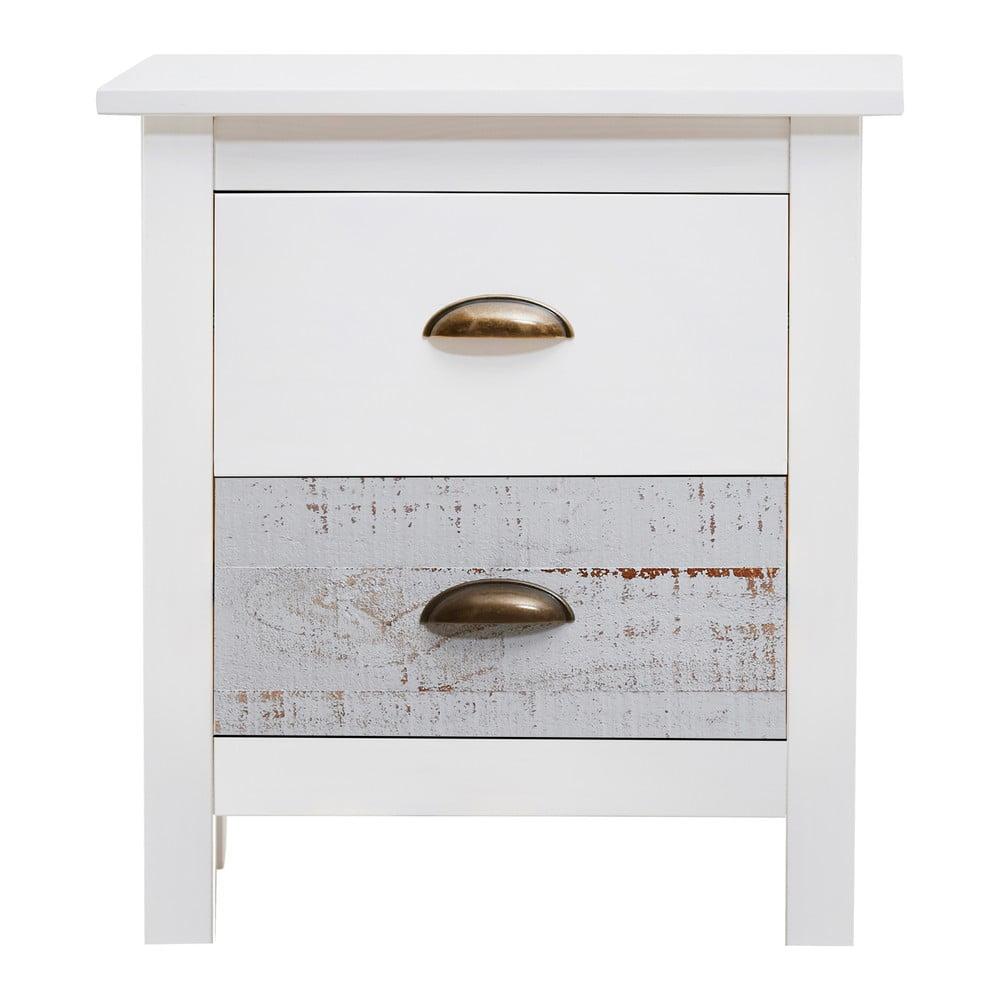 Biało-szara szafka nocna Marckeric Romantica, 46x50 cm