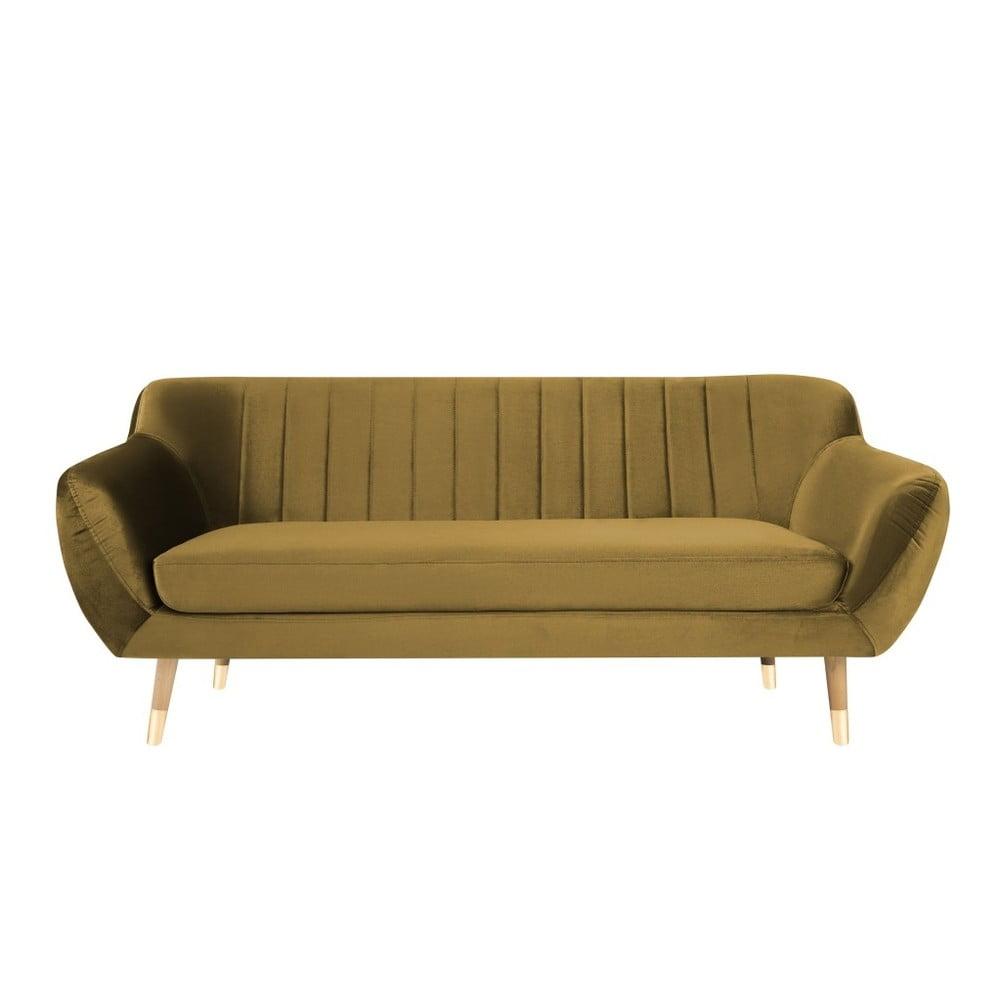 Aksamitna sofa w kolorze złota Mazzini Sofas Benito, 188 cm