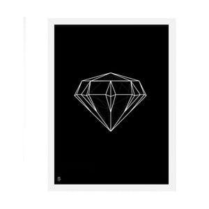 Plakat Diamond Geometric Black, 50x70 cm