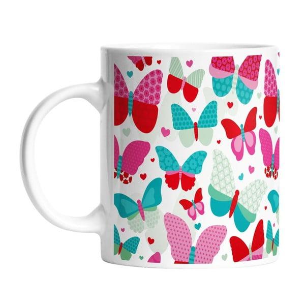 Ceramiczny kubek Red Butterflies, 330 ml
