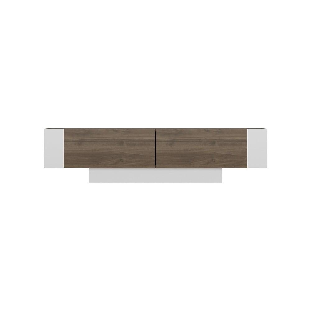 Biała szafka pod TV z detalami w dekorze drewna orzechowego Matera Walnut White