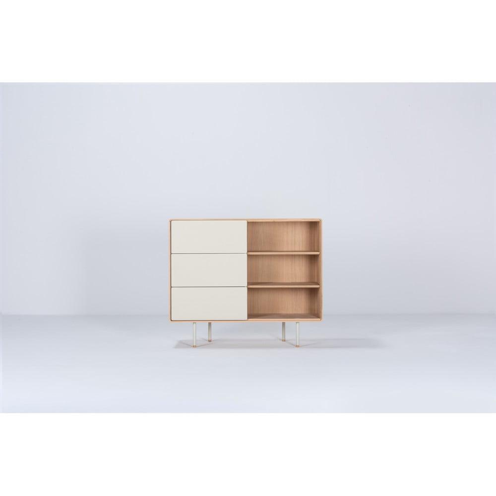 Biała szafka z drewna dębowego z szufladami Gazzda Mushroom
