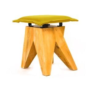 Drewniany stołek Low, oliwkowy