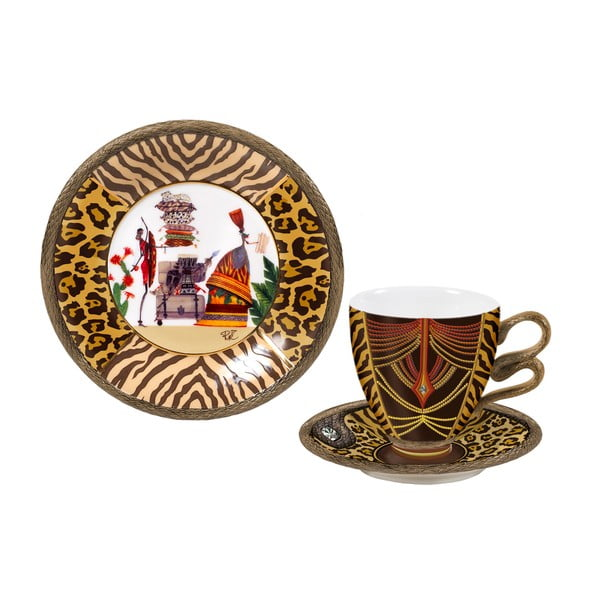 Porcelanowy komplet: filiżanka, spodek, talerz Africa