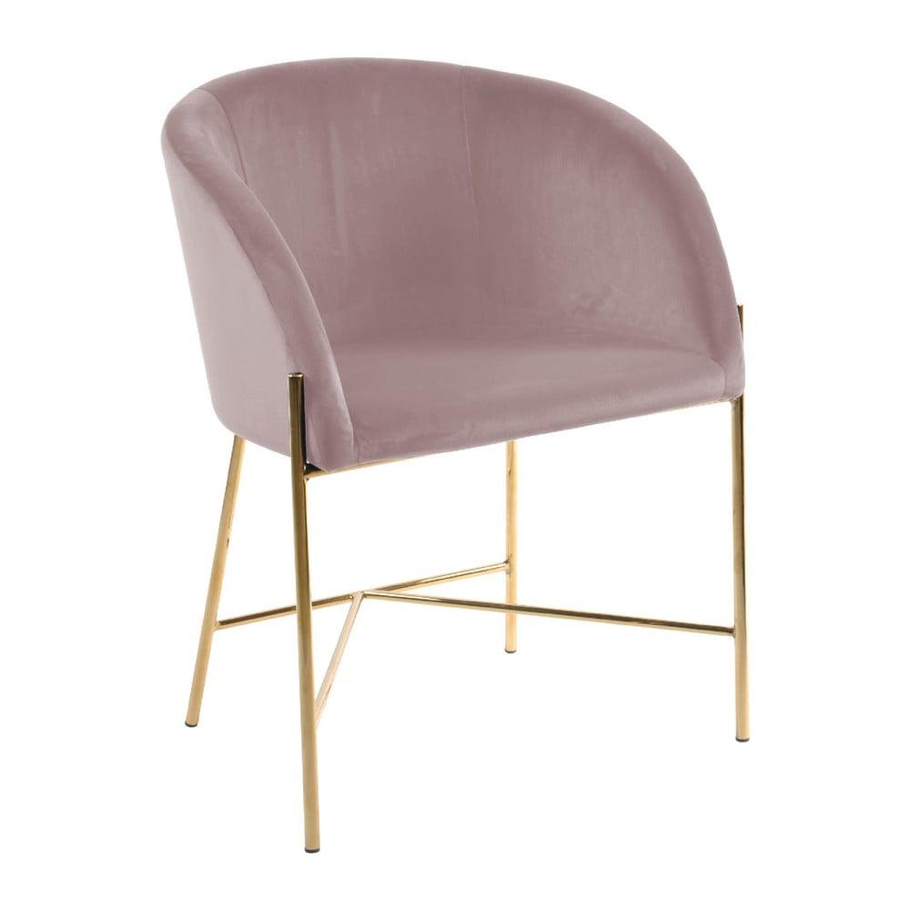 Różowe krzesło z nogami w kolorze złota Interstil Nelson