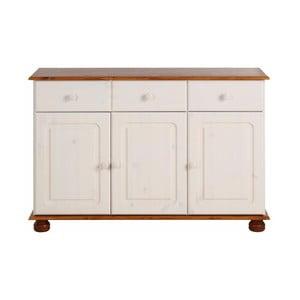Biała szafka 3-drzwiowa z brązowym dekorem z litej sosny Støraa Ella