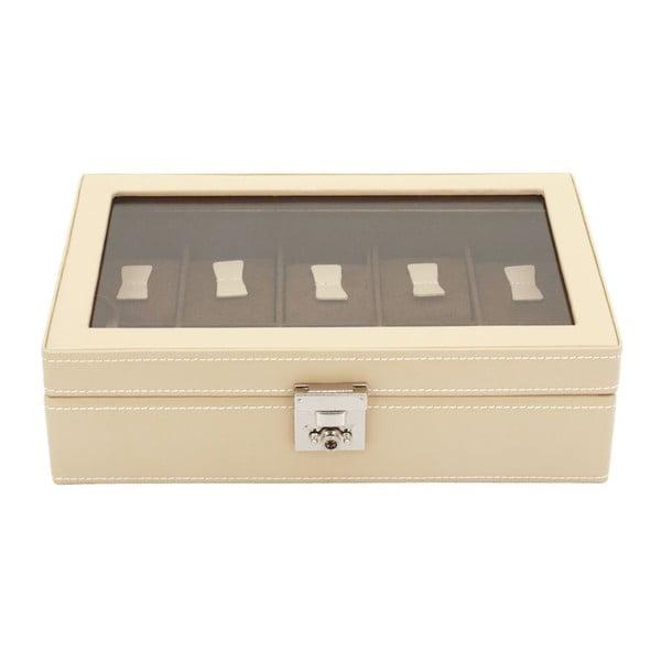 Beżowy kuferek na 10 zegarków Friedrich Lederwaren Cordoba