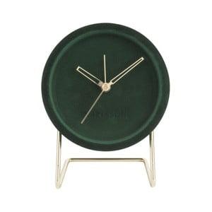 Ciemnozielony zegar stołowy z aksamitem Karlsson Lush