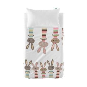 Zestaw prześcieradła i poszewki na poduszkę Little W Rabbit, 100x130 cm