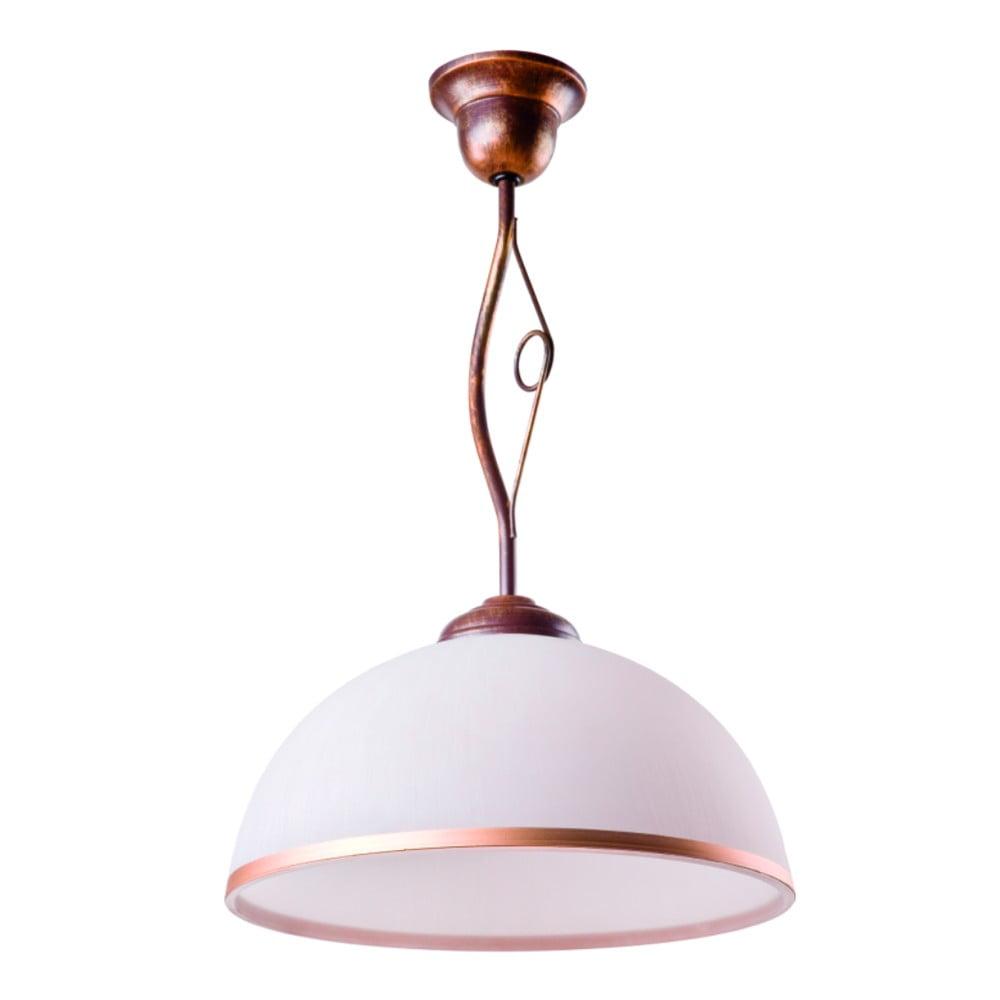 Biało-brązowa lampa wisząca Lamkur Retro