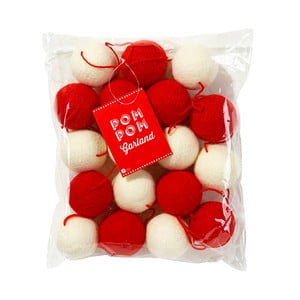 Girlanda Pom Pom Red/White, 2,5 m