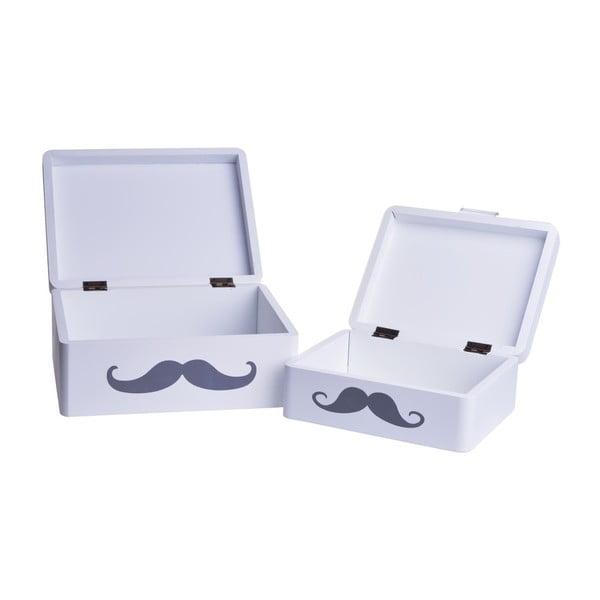 Zestaw 2 drewnianych pudełek Mustache