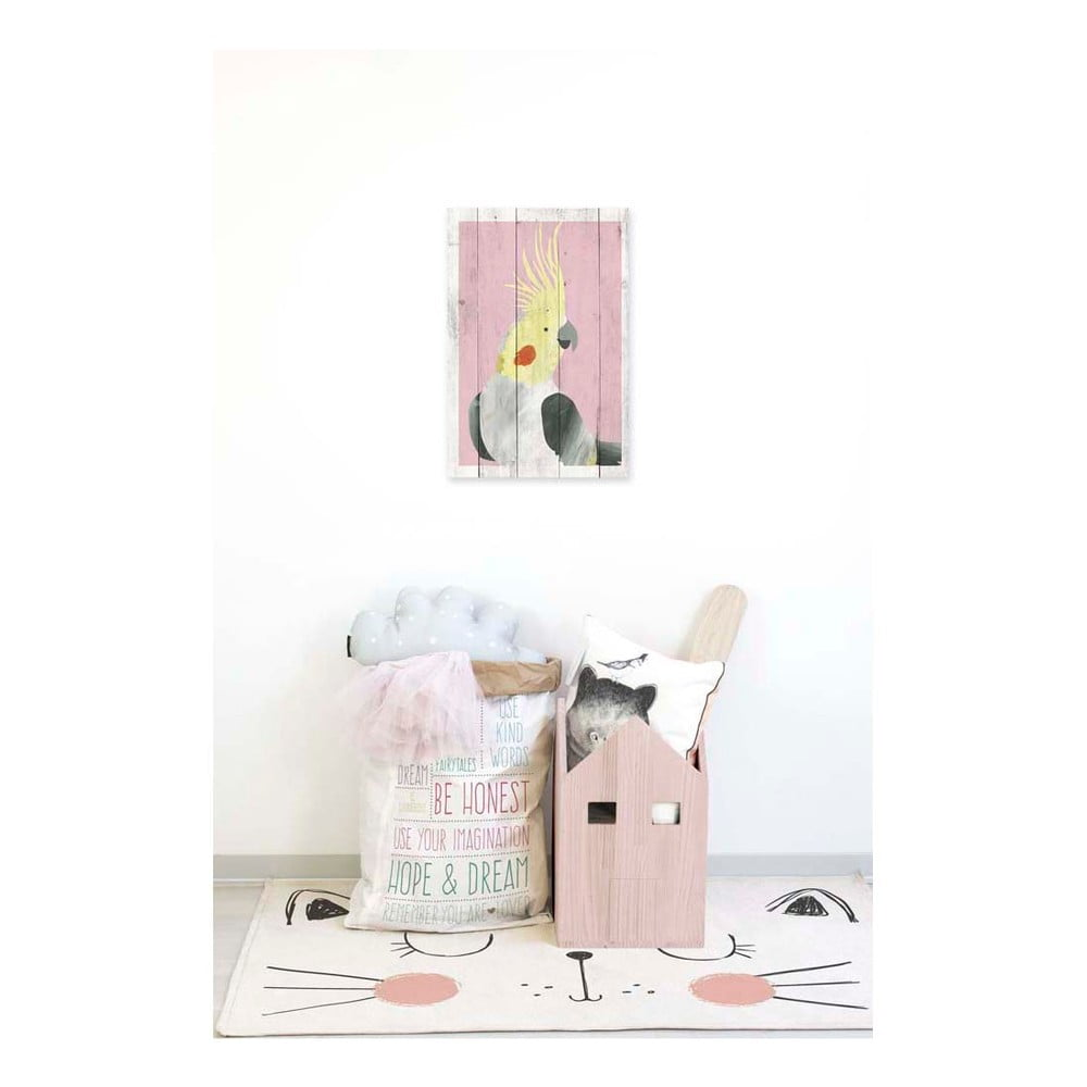 obraz na drewnie little nice things pink blue parrot 60x40 cm bonami. Black Bedroom Furniture Sets. Home Design Ideas