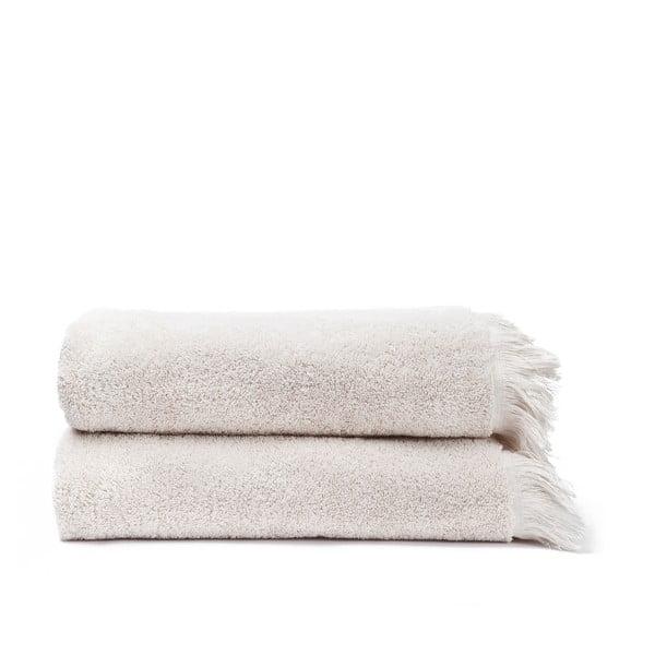 Komplet 2 kremowych ręczników kąpielowych z bawełny Casa Di Bassi Bath, 70x140 cm