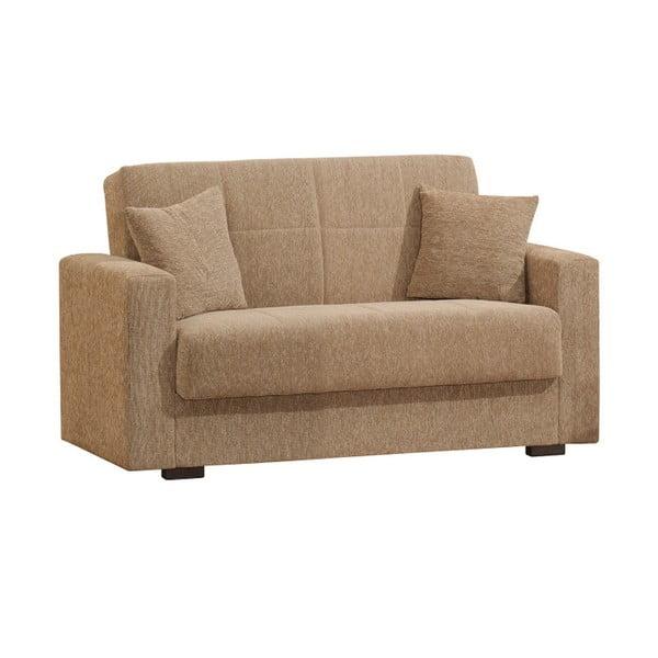 Ciemnobeżowa dwuosobowa sofa rozkładana ze schowkiem Esidra Relax