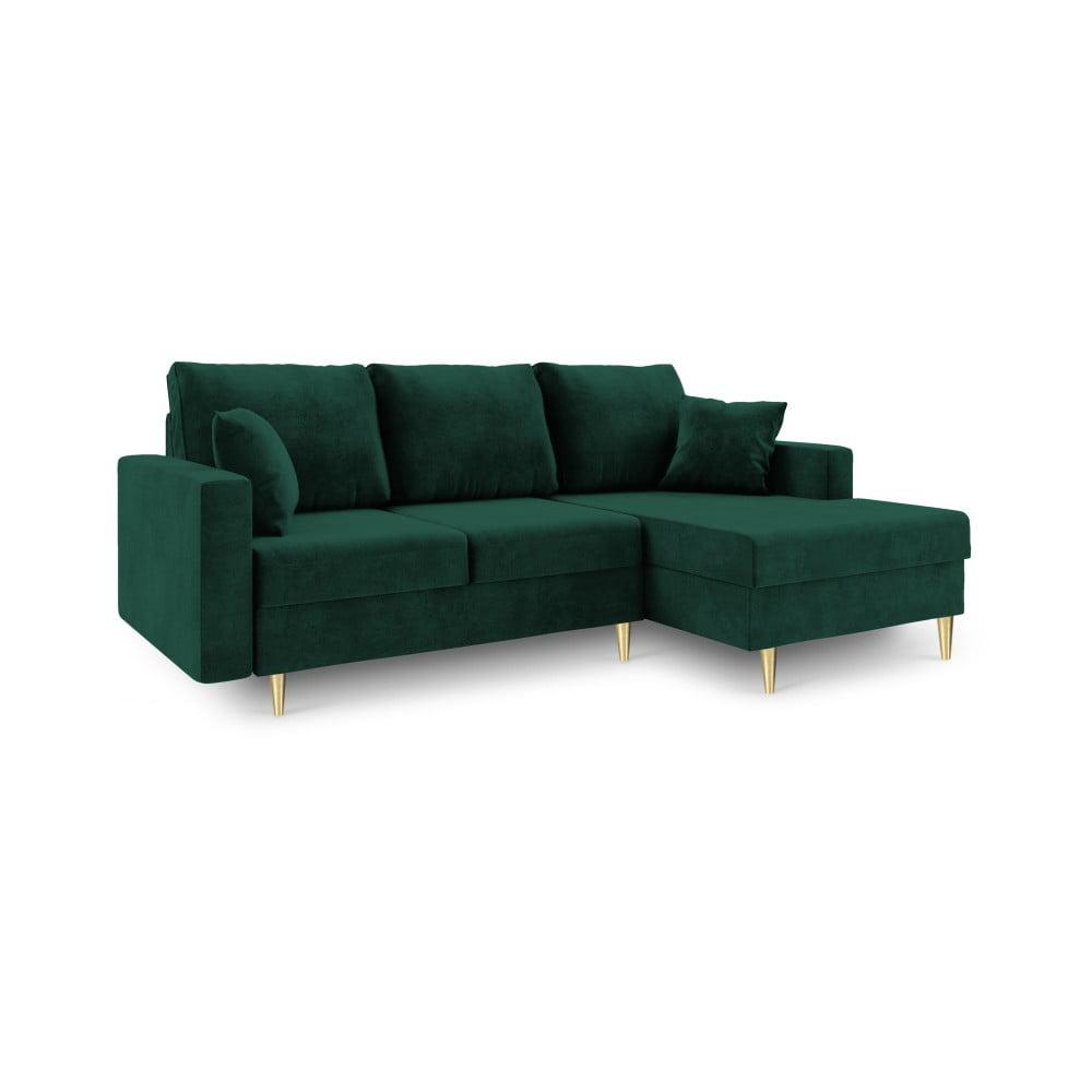 Zielona 4-osobowa sofa rozkładana ze schowkiem Mazzini Sofas Muguet, prawostronna