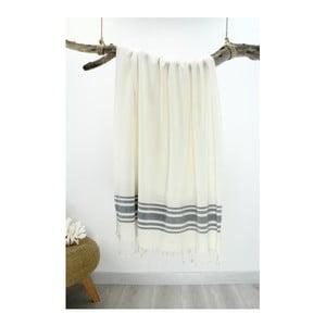 Szaro-biały ręcznik Hammam Bamboo Style, 90x180 cm