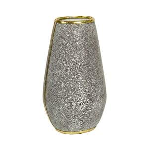 Szary wazon z detalami w złotej barwie Santiago Pons Pearl, wys.37cm